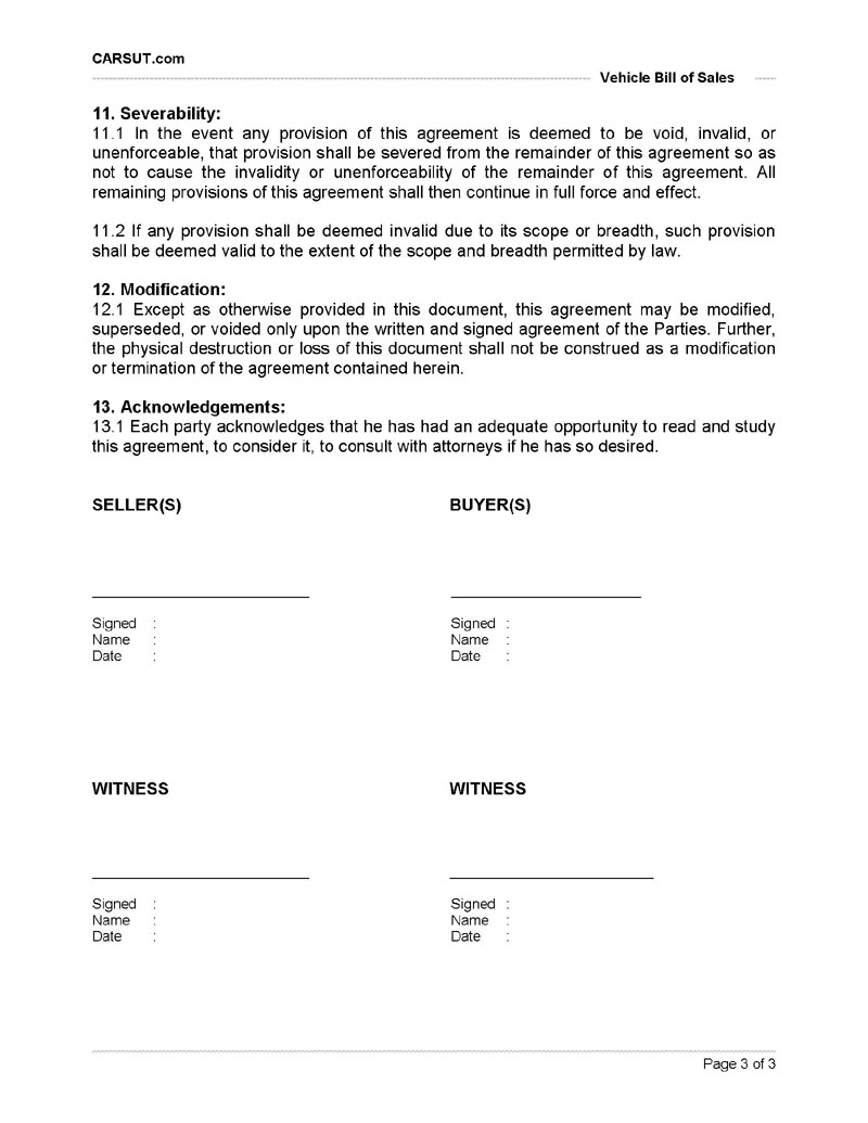 ... Bill Of Sale Page 3  Private Owner Car Sale Contract