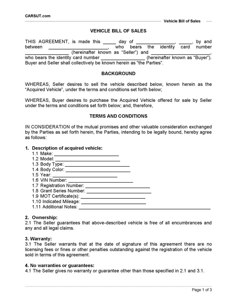Vehicle Bill of Sale Printable – Vehicle Sale Agreement Template