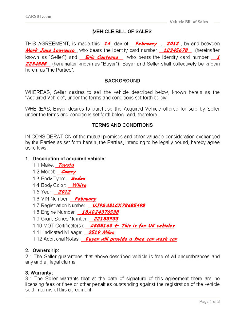 Sample Bill Of Sale  Car Sale Agreement Sample
